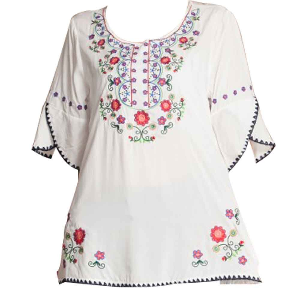 e10fcd5ef5b3a Galleon - Ashir Aley Bell Sleeve Womens Girls Embroidered Cotton Peasant  Tops Mexican Bohemian Shirts Blouses (M