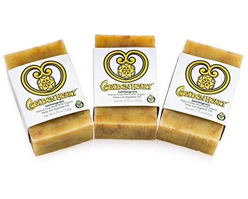 Golden Heart - Lemongrass Hemp Natural Bar Soap, Handmade with Certified Organic Ingredients (4.4 oz bars, 3-Pack)
