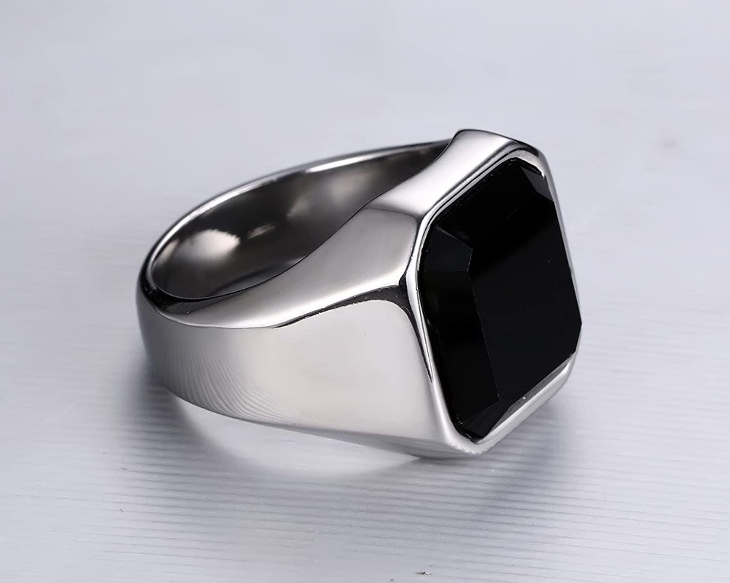 Mealguet Jewelry Fashion Stainless Steel Signet Rings with Black ...
