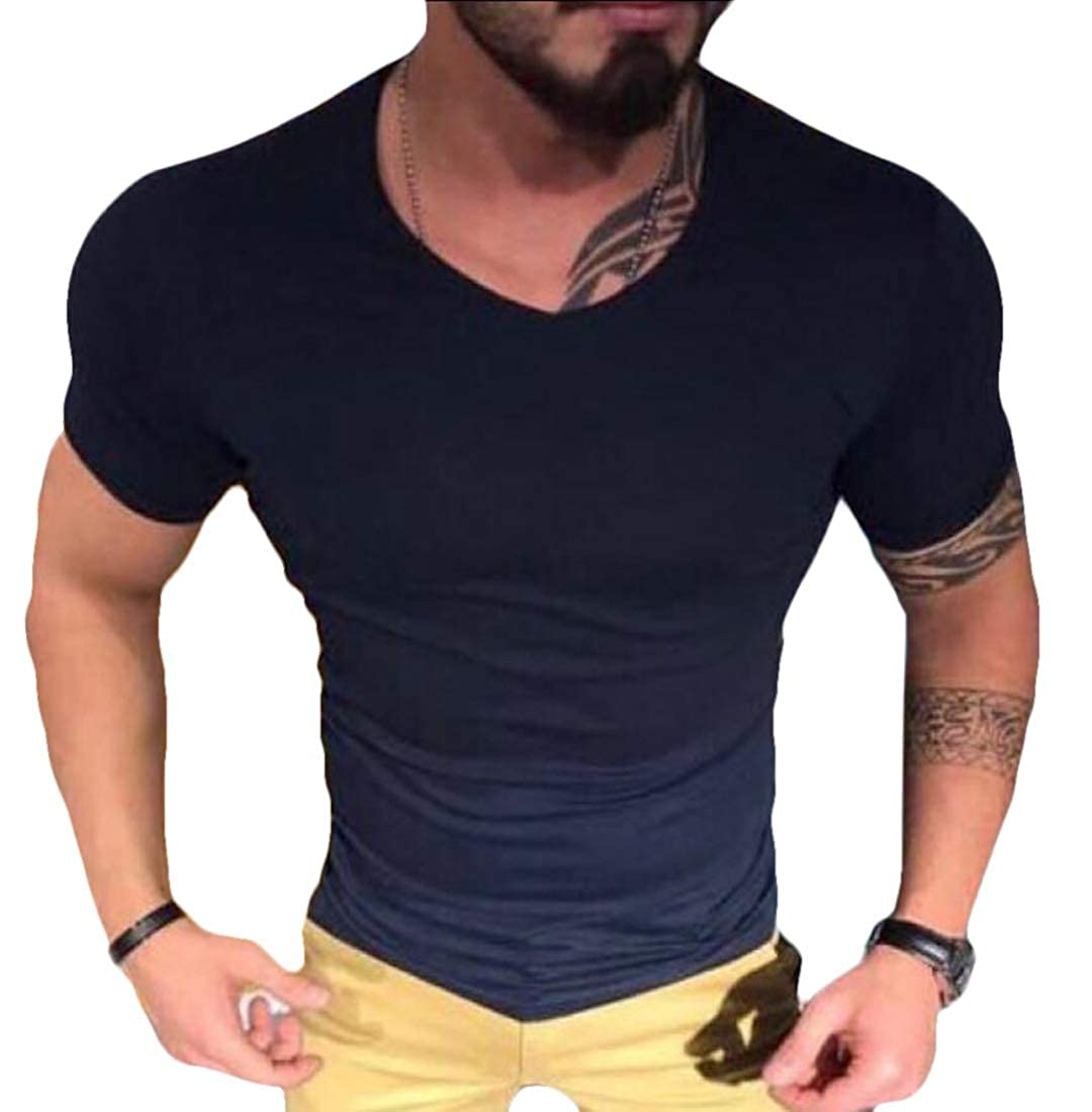 WSPLYSPJY Men Fashion Round Neck Blouse Casual Short Sleeve Tee Cotton Solid Color Short Tops