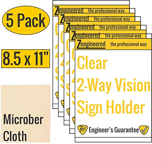 (Clear Wall Mount Sign Frame Superior Than Acrylic Sign Holder   5 Pack Flyer Holder 8.5 x 11 Inches Portrait   Transparent Adhesive   Professional Sign Holders Perfect for Business, Schools & Store)