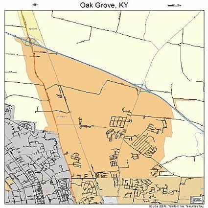 Amazon.com: Large Street & Road Map of Oak Grove, Kentucky ...