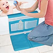 Bath Kneeler - Bath Knee Mat and Elbow Rest with Toy Organizer - Detachable and Foldable Kneeling Pad for Baby Bath, Garden Work, Exercise or Yoga - Large Child Bath Tub Padding for Parents - Blue