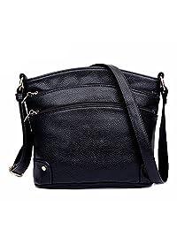 Dethan Womens Multi Zipper Pockets Genuine Leather Cross Body Bag Shoulder Bag
