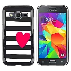 TopCaseStore / la caja del caucho duro de la cubierta de protección de la piel - Prison White Black Purple Lines - Samsung Galaxy Core Prime SM-G360