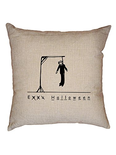 Hollywood Thread Funny Hangman Halloween Dead Stick Figure Decorative Linen Throw Cushion Pillow Case with Insert]()