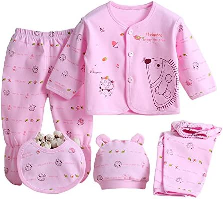 Babywow 5PCS Newborn 0-3M Boys Girls Baby Cotton Clothes Tops Hat Pants Sleepwear Suit Outfit Sets
