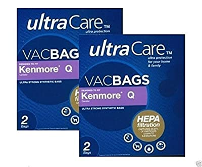 Ultracare Kenmore Q Canister Hepa Cloth Bags. Will Also Fit/Replace Kenmore Type C (5055,50558) Vacuum Bags 4 pk (2 boxes = 4 bags) by Kenmore
