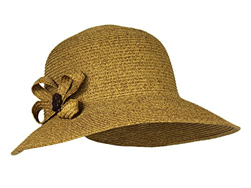 Natural SPF 50+ Packable Straw Cloche Sun Hat w/ FlowerBeach Bucket Cap
