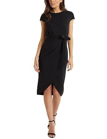 f467fb9ec9 Lipsy Women Self Tie Wrap Bodycon Dress Black US 14 (UK 18): Amazon ...
