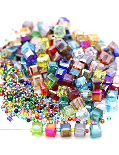 Multicolor AB Crystal Beads Square Glaze Glass Bead Quartz Loose Beads 6MM Cube beads 150pcs for Bracelets Necklaces, With 200pcs Glass seed beads into a Storage Box,ZHUBI -