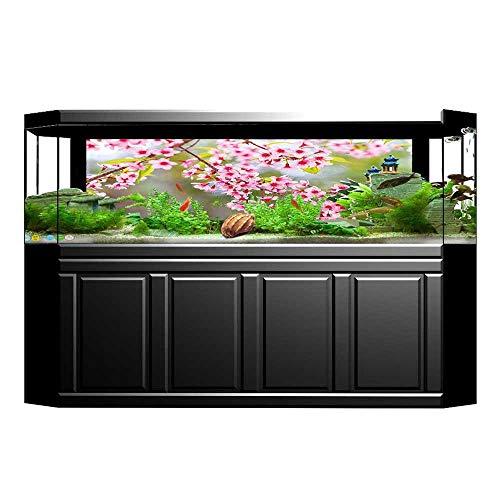 (JiahongPan Background Fish Tank Sticker Wild Himalayan Tree Flora Branch Flourish Light Pink Aquarium Sticker Wallpaper Decoration L29.5 x H17.7)