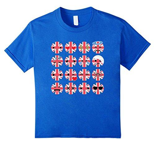 [Kids Great Britain Emoji Many Emotion UK Shirt National T-Shirt 4 Royal Blue] (Fantastic 4 Costume Uk)
