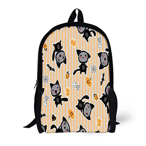 Pinbeam Backpack Travel Daypack Orange Anime Kawaii of Halloween Related and Creatures Waterproof School -