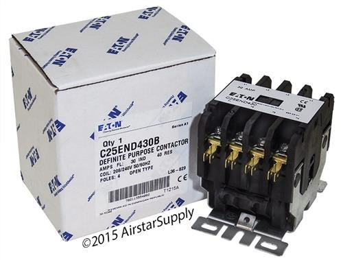 Coil Single Contactor Pole 480vac (Eaton C25END430B Definite Purpose Contactor, 50mm, 4 Poles, Screw/Pressure Plate, Quick Connect Side By Side Terminals, 30A Current Rating, 2 Max HP Single Phase at 115V, 10 Max HP Three Phase at 230V, 15 Max HP Three Phase at 480V, 208-240VAC Coil Voltage)