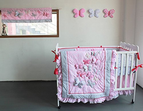 NAUGHTYBOSS Girl Baby Bedding Set Cotton 3D Embroidery Butterfly Flying Pattern Quilt Bumper Bed Skirt Mattress Cover Diaper Bag 8 Pieces Set Pink Color by NAUGHTYBOSS (Image #5)
