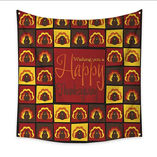 (Anniutwo Tapestry Black Bright Mosaic Thanksgiving Card in Vector Format Bedspread Dorm Accessories Decor 70W x 70L Inch)