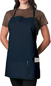 KNG Pack of 2 - Navy Blue Adjustable Bib Apron - 3 Pocket