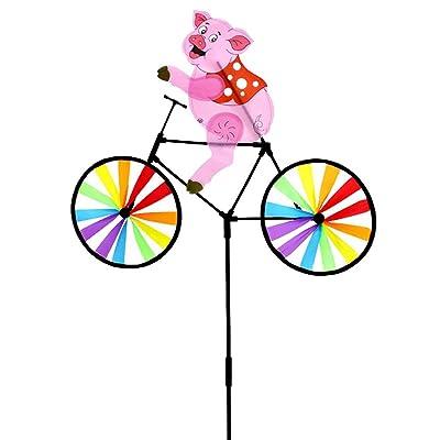 FUCHU Cute 3D Animal Pig on Bike Windmill Whirligig Garden Lawn Yard Decor Wind Spinner : Garden & Outdoor