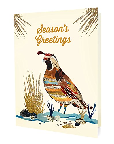 Night Owl Paper Goods Dolan Geiman Holiday Quail Folded Holiday Cards, Box Of 10