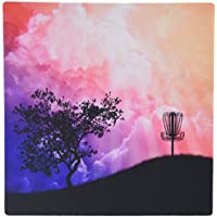 3dRose LLC Basket on a Hill Silhouette of a Frisbee Disc Golf Basket with Chain on Colorful Hill Pattern Mouse Pad (mp_23727_1)