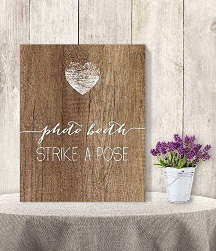 (Mildred Rob Photo Booth Strike A Pose Wedding Photo Booth Sign Rustic Wood Sign Calligraphy Printable Wood)