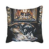 farg Fireplace Alaskan Decorative Pillowcase for Couch/Sofa/Bed 24 × 24'' Throw Pillow