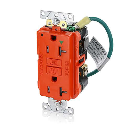 Isolated Ground Outlet (Leviton GFTR2-IGO 20A-125V Extra-Heavy Duty Industrial Grade Isolated Ground Duplex Tamper-Resistant Self-Test GFCI Receptacle, 20-Amp, Orange,)