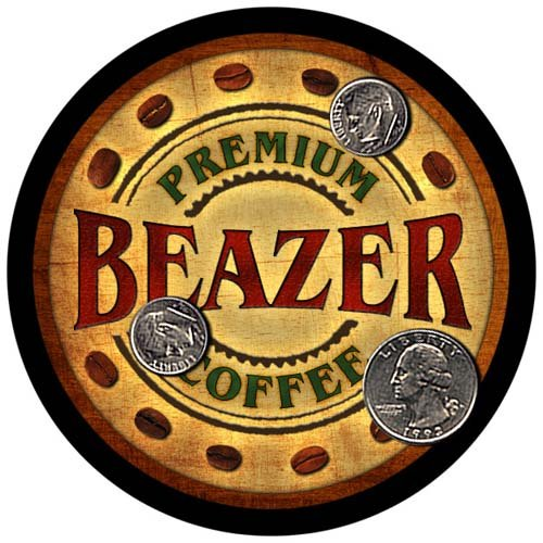 Beazer Family Name Coffee Rubber Drink Coasters   4 Pcs