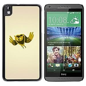 TopCaseStore / la caja del caucho duro de la cubierta de protección de la piel - Minimalist Owl - HTC DESIRE 816