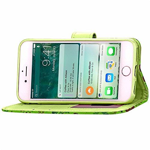 SRY-Bolsa para teléfono móvil Cubierta del iPhone 7, caso de la caja del cuero de la PU del color mezclado con la ranura en efectivo de la tarjeta Caso del patrón de flores pequeñas cubierta del sopor Green