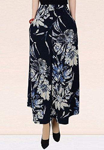 Aivtalk Damen Weite Bein Hose Frauen Elegante Baumwolle lange Hosen Frauen Blumen Druck Weite Bein Pluderhose Casual Wide Leg Pants Asiatische Größe XXXL ( B Muster )