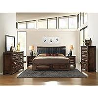 Roundhill Furniture B179QDMN2C Broval 179 Light Espresso Finish Queen Storage Bed, Dresser, Mirror, 2 Night Stands, Chest Wood Bed Room Set