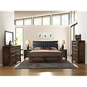 Roundhill Furniture B179KDMN2C Broval 179 Light Espresso Finish King Storage Bed, Dresser, Mirror, 2 Night Stands, Chest Wood Bed Room Set-P