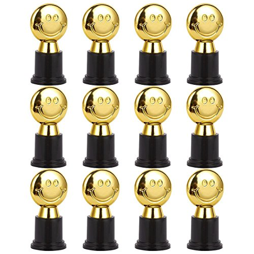 Baseball Participation Trophy - Pack of 12 Mini Trophies - Emoji Trophies - Kids Trophy - Plastic Trophy - Trophies for Kids, Gold, Black