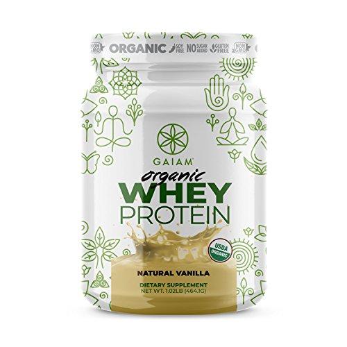 GAIAM Biologique de Protéines de Lactosérum (Fabriqué aux etats-unis, l'USDA Certifié Biologique, 0g de Sucre, 19g-20g de Protéines Par Portion) - 1 lb Pot (Naturel de Vanille)
