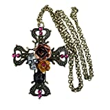 Victorian Steampunk Sugar Skull necklace Zombie Day of the dead pendant charm cross