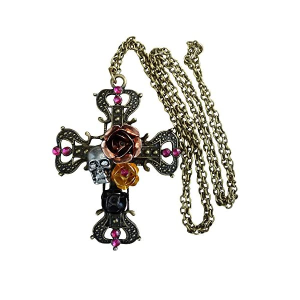 Victorian Steampunk Sugar Skull necklace Zombie Day of the dead pendant charm cross 3