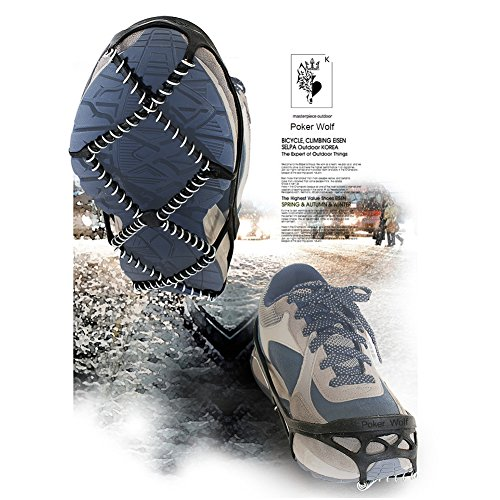 Traction Cleats for Walking on Snow ,Snow Grips Ice Creepers Over Shoe Boot,Rubber Anti Slip spikes for Footwear ,Ice Grips Crampon Spikes Ice Snow Grippers for Boots and Shoes Ice Cleats Walk Tractio by Poker Wolf