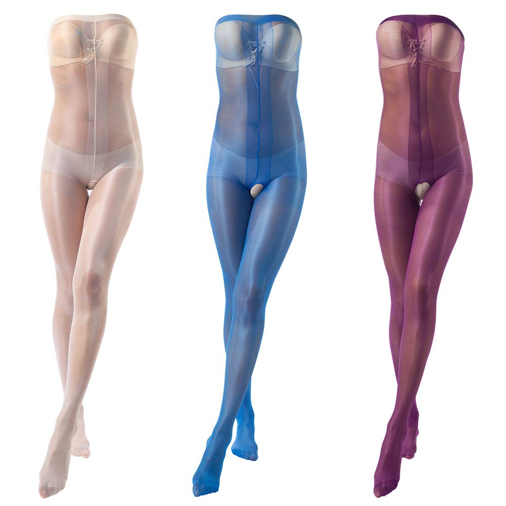 ElsaYX Women's Ultra Shiny Toe to Bust Crotchless Body Stocking Pantyhose Lingerie
