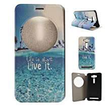 "Zenfone 2 Laser (ZE500KL) Case, Asus Zenfone 2 Laser (ZE500KL) Case, SATURCASE PU Leather Flip View Window Stand PC Case Cover for Asus Zenfone 2 Laser ZE500KL 5.0"" Beautiful Landscape"