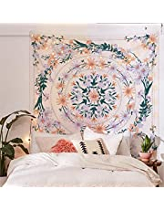 Simpkeely Mandala Floral Medallion Tapestry, Sketched Flower Plant Boho Wall Hanging, Bohemian Hippie Tapestries for Bedroom Living Room Dorm Home Décor