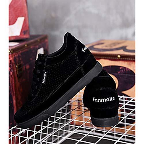Zapatillas Primavera Cuero Rosa US6 Zapatos Confort Gris Cuña UK4 Black Redondo EU36 Tacón CN36 Rojo Nobuck Dedo Otoño Deporte TTSHOES Mujer De IF4Sqxx0