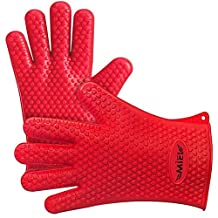Heat Resistant Silicone Kitchen and BBQ Gloves - Silicone Heat Resistant Grilling Accessories - Use as BBQ Meat Turner or Oven Mitts - Insulated& Waterproof-1 Pair - FDA Approved, (red)
