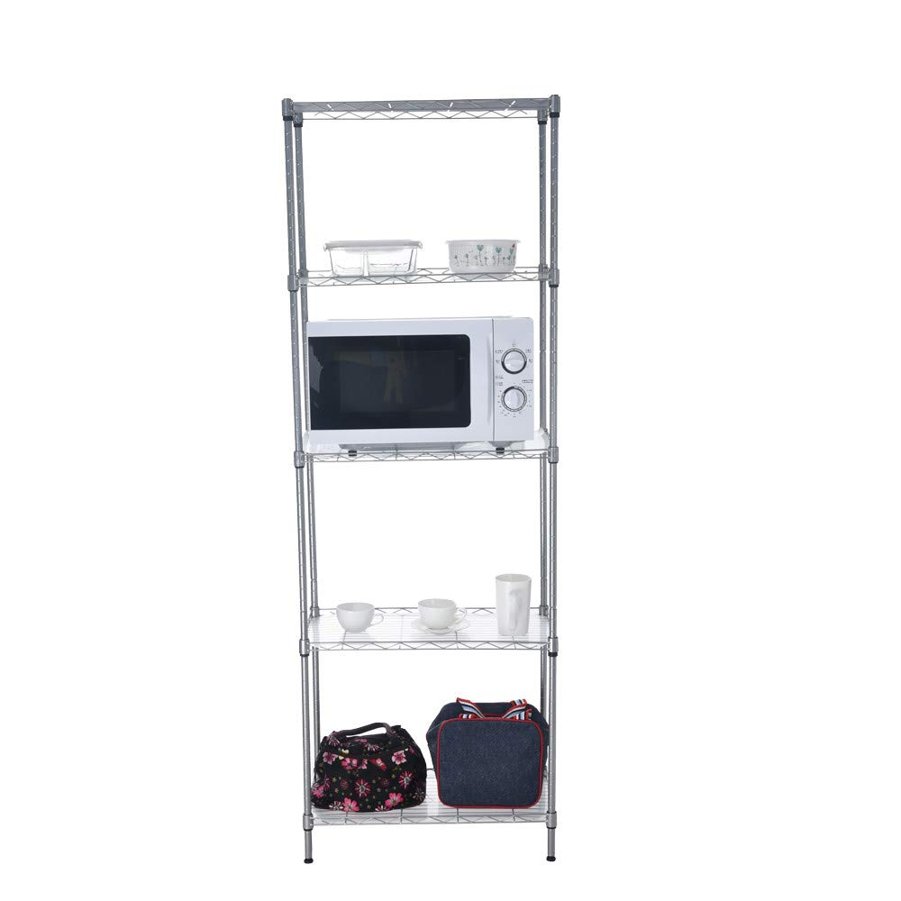 Quelife Shoe Kitchenwear Storage Rack Microwave Oven Holder Wheeled 5-Shelf Trolley Multifunctional Shelf Cart -55x30x158cm by Quelife (Image #2)
