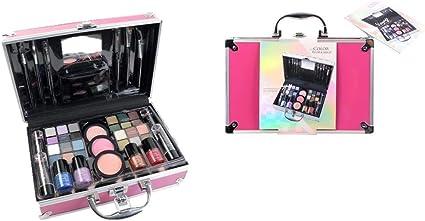 Maletín de Maquillaje Bon Voyage Travel Pink - The Color Workshop - Un Kit de Maquillaje Profesional Completo en un Gran Maletín Rosa Plateado con Espejo Incluido para Llevar Siempre Contigo: Amazon.es: