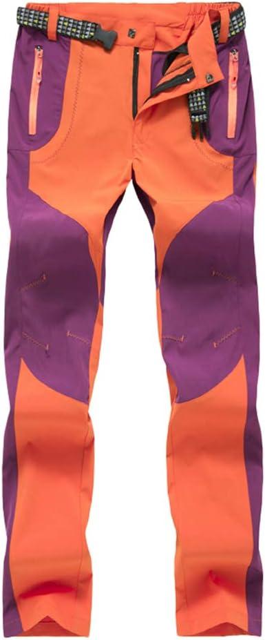 Haobing Unisexo Pantalones de Acampada y Marcha Pantalón de Senderismo y Trekking con Bolsillos de Cremallera y cinturón