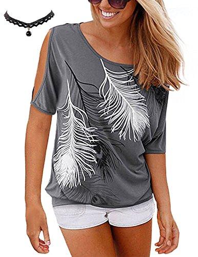 Hauts Chemisiers Femmes T Casual Gris BUOYDM Tops Imprim Top Courte Blouse T Shirt Shirt Lache Chic Manche Dnudes 0Eq1PE