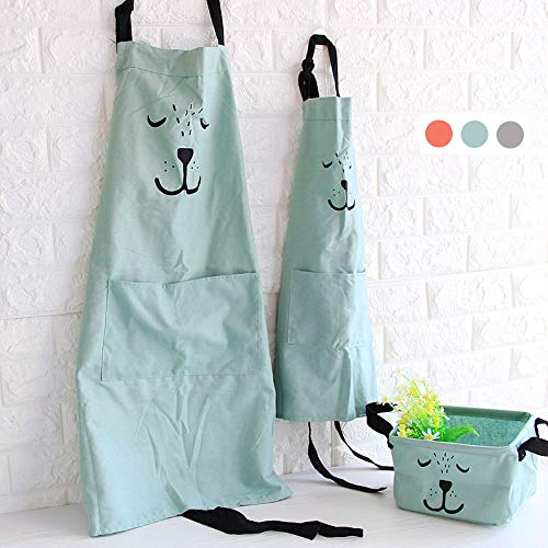 - Cotton and Linen Parent Child Apron, Simple and Lovely Apron with Pocket for Painting and Cooking, Artist Apron & Chef Apron, Pack of 2 (Green)