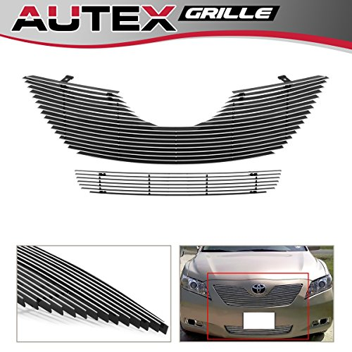 AUTEX Polished Aluminum Horizontal Billet Grille Combo Compatible with 2007 2008 2009 Toyota Camry Grill Insert T87840A